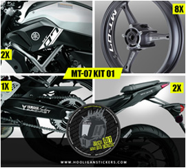 Yamaha MT-07 gold decals package